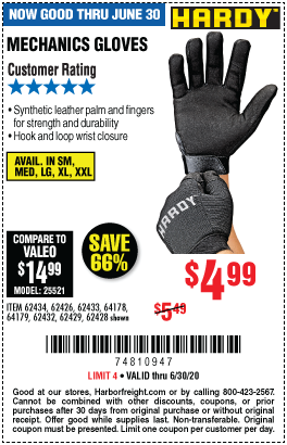 Harbor Freight Tools Coupons, Harbor Freight Coupon, HF Coupons-HARDY Mechanics Gloves for $4.99