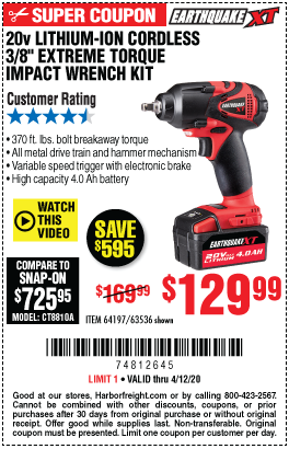 Harbor Freight Tools Coupons, Harbor Freight Coupon, HF Coupons-EARTHQUAKE XT 20V Max Lithium 3/8 In. Cordless Xtreme Torque Impact Wrench Kit for $129.99