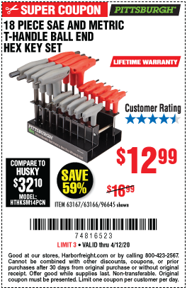 Harbor Freight Tools Coupons, Harbor Freight Coupon, HF Coupons-PITTSBURGH SAE & Metric T-Handle Ball End Hex Key Set 18 Pc. for $12.99