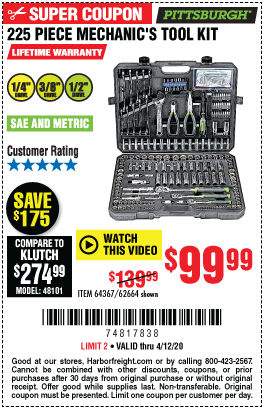 Harbor Freight Tools Coupons, Harbor Freight Coupon, HF Coupons-PITTSBURGH Mechanic's Tool Kit 225 Pc. for $99.99