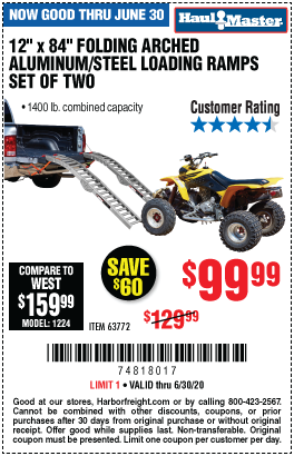 Harbor Freight Tools Coupons, Harbor Freight Coupon, HF Coupons-HAUL-MASTER 1400 Lbs. Capacity 12 in. x 84 in. Folding Arched Aluminum/Steel Loading Ramps Set of Two for $99.99