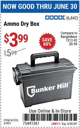 Harbor Freight Tools Coupons, Harbor Freight Coupon, HF Coupons-BUNKER HILL SECURITY Ammo Dry Box for $3.99