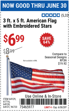 Harbor Freight Tools Coupons, Harbor Freight Coupon, HF Coupons-3 Ft. X 5 Ft. American Flag With Embroidered Stars for $6.99
