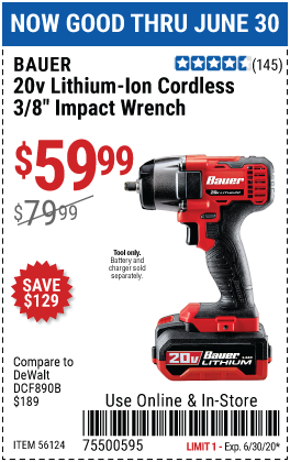 Harbor Freight Tools Coupons, Harbor Freight Coupon, HF Coupons-BAUER 20V Hypermax Lithium 3/8 in. Compact Impact Wrench for $59.99