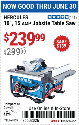 Harbor Freight Tools Coupons, Harbor Freight Coupon, HF Coupons-HERCULES 10 in. 15 Amp Compact Job Site Table Saw for $239.99