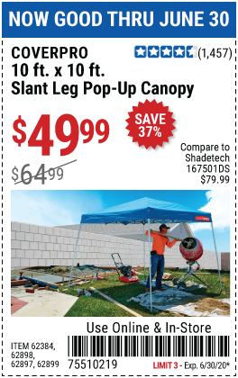 Harbor Freight Tools Coupons, Harbor Freight Coupon, HF Coupons-COVERPRO 10 Ft. X 10 Ft. Pop-Up Canopy for $49.99