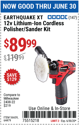 Harbor Freight Tools Coupons, Harbor Freight Coupon, HF Coupons-EARTHQUAKE XT 12V Max Lithium Cordless Compact Polisher/Sander Kit for $89.99