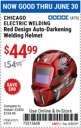Harbor Freight Tools Coupons, Harbor Freight Coupon, HF Coupons-CHICAGO ELECTRIC Red Design Auto Darkening Welding Helmet for $44.99