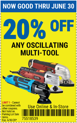 Harbor Freight Tools Coupons, Harbor Freight Coupon, HF Coupons-20% off Oscillating Multi-Tools