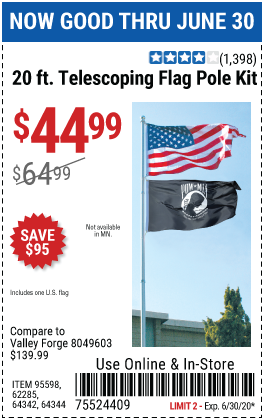 Harbor Freight Tools Coupons, Harbor Freight Coupon, HF Coupons-ONE STOP GARDENS 20 Ft. Telescoping Flag Pole Kit for $44.99