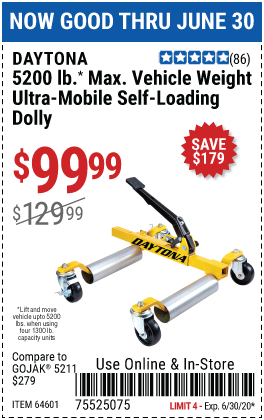 Harbor Freight Tools Coupons, Harbor Freight Coupon, HF Coupons-DAYTONA 5200 Lb. Max Vehicle Weight Ultra-Mobile Self-Loading Dolly for $99.99