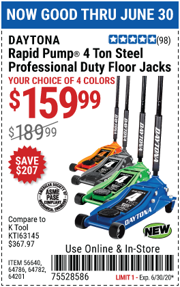 Harbor Freight Tools Coupons, Harbor Freight Coupon, HF Coupons-DAYTONA 4 Ton Professional Rapid Pump� Floor Jack for $159.99