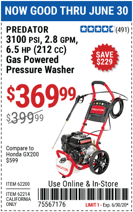 Harbor Freight Tools Coupons, Harbor Freight Coupon, HF Coupons-PREDATOR Pressure Washer for $369.99