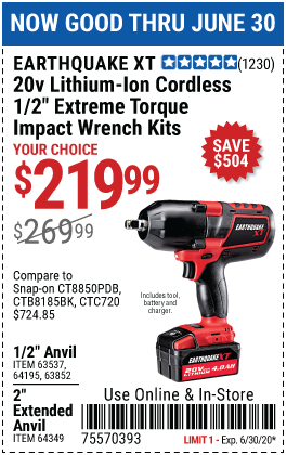 Harbor Freight Tools Coupons, Harbor Freight Coupon, HF Coupons-EARTHQUAKE XT 20V Max Lithium 1/2 In. Cordless Xtreme Torque Impact Wrench Kit for $219.99
