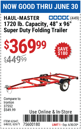 Harbor Freight Tools Coupons, Harbor Freight Coupon, HF Coupons-HAUL-MASTER 1720 Lb. Capacity 48 In. X 96 In. Super Duty Folding Trailer for $369.99