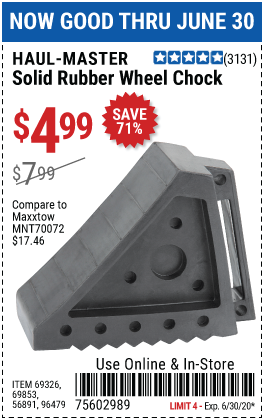 Harbor Freight Tools Coupons, Harbor Freight Coupon, HF Coupons-HAUL-MASTER Solid Rubber Wheel Chock for $4.99