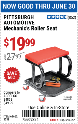 Harbor Freight Tools Coupons, Harbor Freight Coupon, HF Coupons-PITTSBURGH AUTOMOTIVE Mechanic's Roller Seat for $19.99