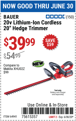 Harbor Freight Tools Coupons, Harbor Freight Coupon, HF Coupons-BAUER 20V Hypermax Lithium Cordless Hedge Trimmer for $39.99