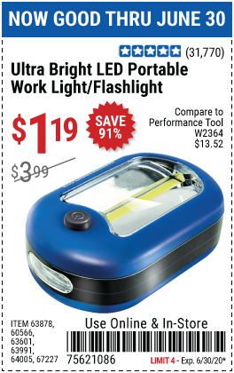Harbor Freight Tools Coupons, Harbor Freight Coupon, HF Coupons-Ultra Bright LED Portable Worklight/Flashlight for $1.19