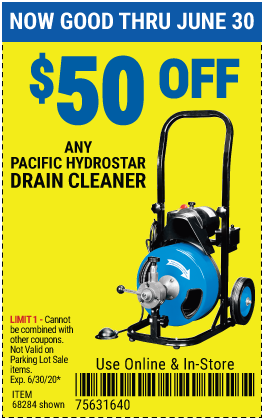 Harbor Freight Tools Coupons, Harbor Freight Coupon, HF Coupons-$50 Off Any Pacific Hydrostar Drain Cleaner
