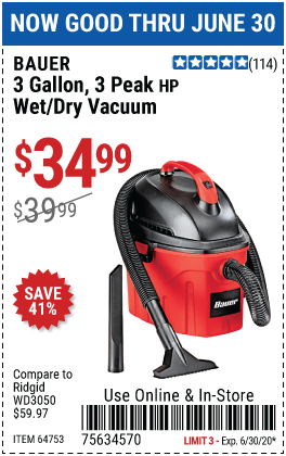 Harbor Freight Tools Coupons, Harbor Freight Coupon, HF Coupons-BAUER 3 Gallon 3 Peak Horsepower Wet/Dry Vacuum for $34.99