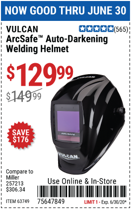 Harbor Freight Tools Coupons, Harbor Freight Coupon, HF Coupons-VULCAN ArcSafe Auto Darkening Welding Helmet for $129.99