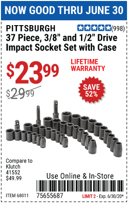 Harbor Freight Tools Coupons, Harbor Freight Coupon, HF Coupons-PITTSBURGH 3/8 in. 1/2 in. Drive SAE & Metric Impact Socket Set 37 Pc. for $23.99