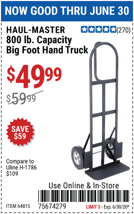 Harbor Freight Tools Coupons, Harbor Freight Coupon, HF Coupons-HAUL-MASTER 800 lb. Capacity Heavy Duty Hand Truck for $49.99