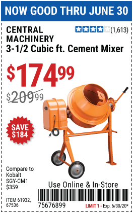 Harbor Freight Tools Coupons, Harbor Freight Coupon, HF Coupons-CENTRAL MACHINERY 3-1/2 Cubic Ft. Cement Mixer for $174.99