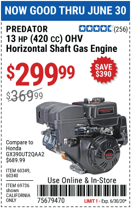 Harbor Freight Tools Coupons, Harbor Freight Coupon, HF Coupons-PREDATOR 13 HP (420cc) OHV Horizontal Shaft Gas Engine for $299.99