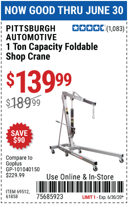 Harbor Freight Tools Coupons, Harbor Freight Coupon, HF Coupons-PITTSBURGH AUTOMOTIVE 1 Ton Capacity Foldable Shop Crane for $139.99