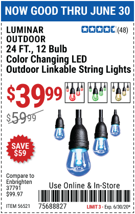 Harbor Freight Tools Coupons, Harbor Freight Coupon, HF Coupons-LUMINAR OUTDOOR 12 Bulb Color Changing LED String Lights for $39.99