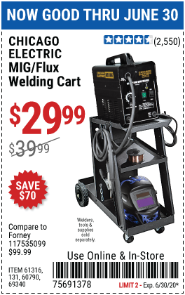 Harbor Freight Tools Coupons, Harbor Freight Coupon, HF Coupons-CHICAGO ELECTRIC Welding Cart for $29.99