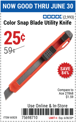 Harbor Freight Tools Coupons, Harbor Freight Coupon, HF Coupons-Color Snap Blade Utility Knife for $0.25