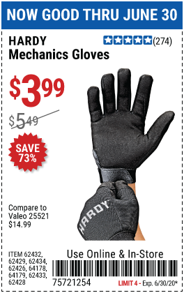 Harbor Freight Tools Coupons, Harbor Freight Coupon, HF Coupons-HARDY Mechanics Gloves for $3.99