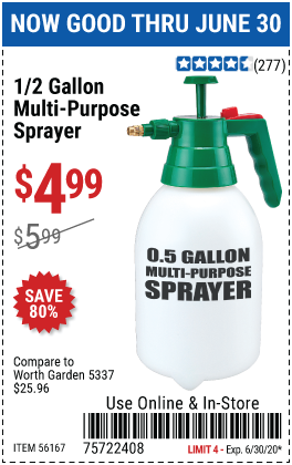 Harbor Freight Tools Coupons, Harbor Freight Coupon, HF Coupons-0.5 gallon Multi-Purpose Sprayer for $4.99