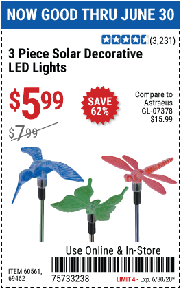 Harbor Freight Tools Coupons, Harbor Freight Coupon, HF Coupons-ONE STOP GARDENS Solar Decorative LED Lights for $5.99