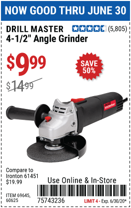 Harbor Freight Tools Coupons, Harbor Freight Coupon, HF Coupons-DRILL MASTER 4-1/2 In. 4.3 Amp Angle Grinder for $9.99