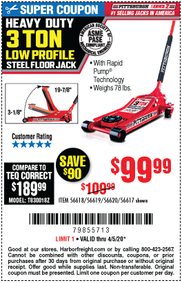 Harbor Freight Tools Coupons, Harbor Freight Coupon, HF Coupons-PITTSBURGH AUTOMOTIVE 3 Ton Low Profile Steel Heavy Duty Floor Jack With Rapid Pump for $99.99