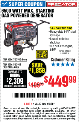 Harbor Freight Tools Coupons, Harbor Freight Coupon, HF Coupons-PREDATOR 6500 Watt Max Starting Gas Powered Generator for $449.99