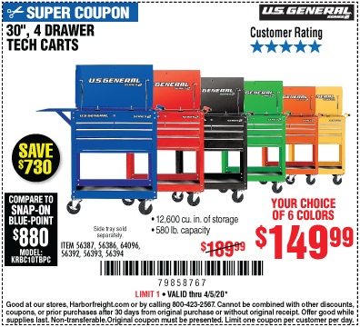 Harbor Freight Tools Coupons, Harbor Freight Coupon, HF Coupons-U.S. GENERAL 30 In. 4 Drawer Tech Cart for $149.99
