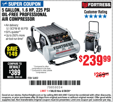 Harbor Freight Tools Coupons, Harbor Freight Coupon, HF Coupons-FORTRESS 5 Gallon 1.6 HP 225 PSI Oil-Free Professional Air Compressor for $239.99