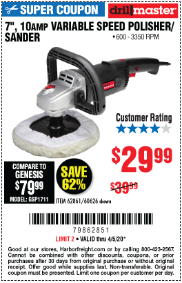 Harbor Freight Tools Coupons, Harbor Freight Coupon, HF Coupons-DRILL MASTER 7 in. 10 Amp Variable Speed Polisher for $29.99