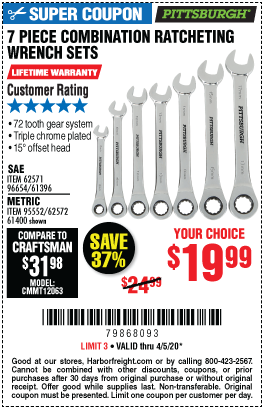 Harbor Freight Tools Coupons, Harbor Freight Coupon, HF Coupons-PITTSBURGH Metric Combination Ratcheting Wrench Set 7 Pc. for $19.99