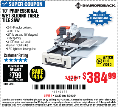 Harbor Freight Tools Coupons, Harbor Freight Coupon, HF Coupons-DIAMONDBACK 10 in. 2.4 HP Heavy Duty Wet Tile Saw with Sliding Table for $384.99