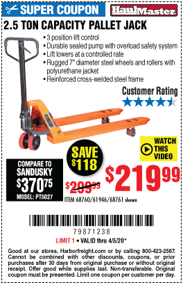 Harbor Freight Tools Coupons, Harbor Freight Coupon, HF Coupons-HAUL-MASTER 2.5 Ton Pallet Jack for $219.99