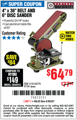 Harbor Freight Tools Coupons, Harbor Freight Coupon, HF Coupons-CENTRAL MACHINERY 4 in. x 36 in. Belt/6 in. Disc Sander for $64.79