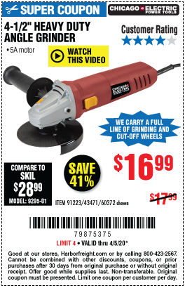 Harbor Freight Tools Coupons, Harbor Freight Coupon, HF Coupons-CHICAGO ELECTRIC Corded 4-1/2 in. 5 Amp Angle Grinder for $16.99