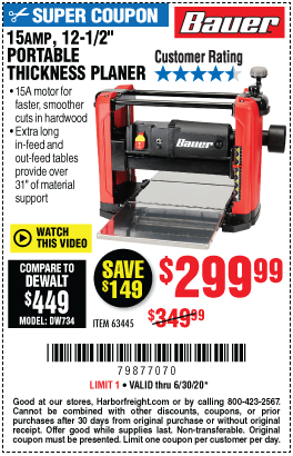 Harbor Freight Tools Coupons, Harbor Freight Coupon, HF Coupons-BAUER 15 Amp 12-1/2 in. Portable Thickness Planer for $299.99