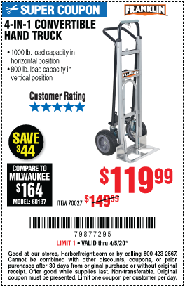 Harbor Freight Tools Coupons, Harbor Freight Coupon, HF Coupons-FRANKLIN 4-in-1 Convertible Hand Truck for $119.99